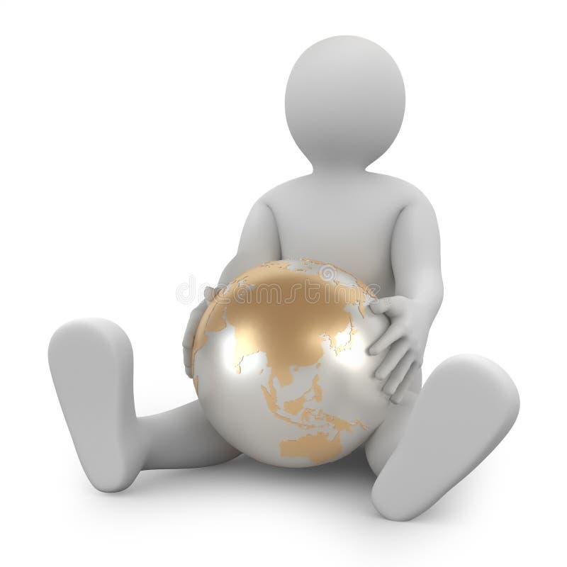 τρισδιάστατος άνθρωπος στο άσπρο υπόβαθρο με το χρυσό γήινο πλανήτη Έννοια τέχνης r ελεύθερη απεικόνιση δικαιώματος