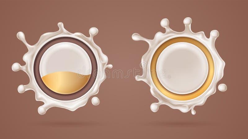 τρισδιάστατος άσπρος παφλασμός σοκολάτας με το γάλα, choco splat ελεύθερη απεικόνιση δικαιώματος