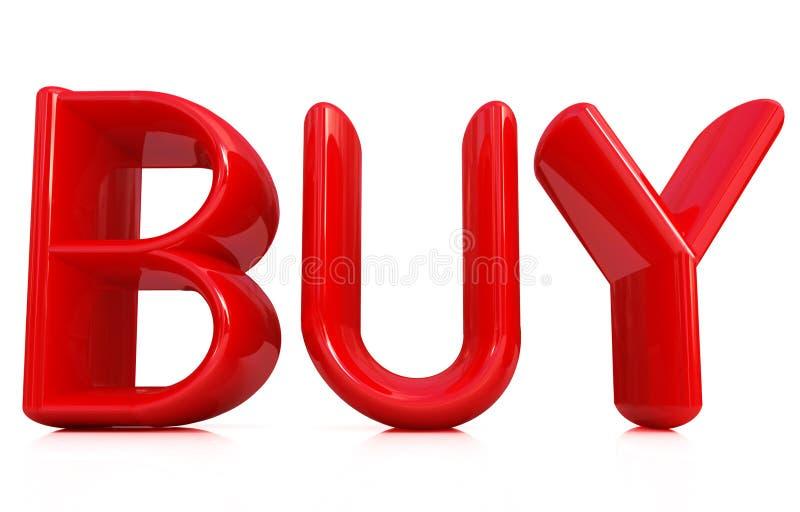 τρισδιάστατος αγοράστε το κόκκινο κείμενο διανυσματική απεικόνιση