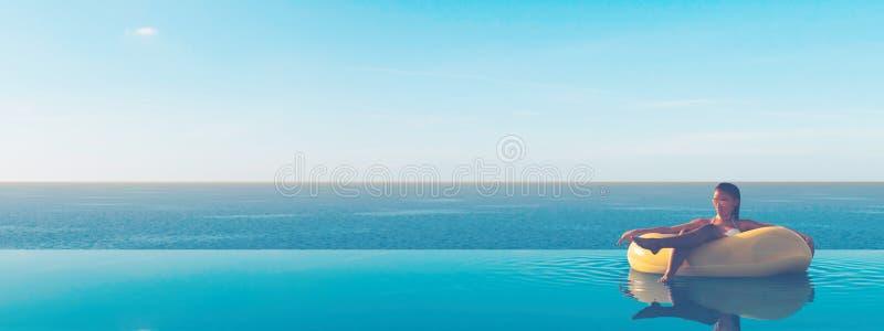 τρισδιάστατος-απεικόνιση της γυναίκας που κολυμπά στο επιπλέον σώμα σε μια λίμνη διανυσματική απεικόνιση