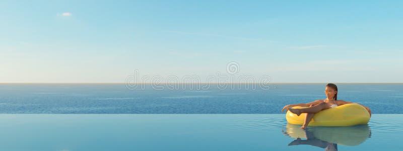 τρισδιάστατος-απεικόνιση της γυναίκας που κολυμπά στο επιπλέον σώμα σε μια λίμνη ελεύθερη απεικόνιση δικαιώματος