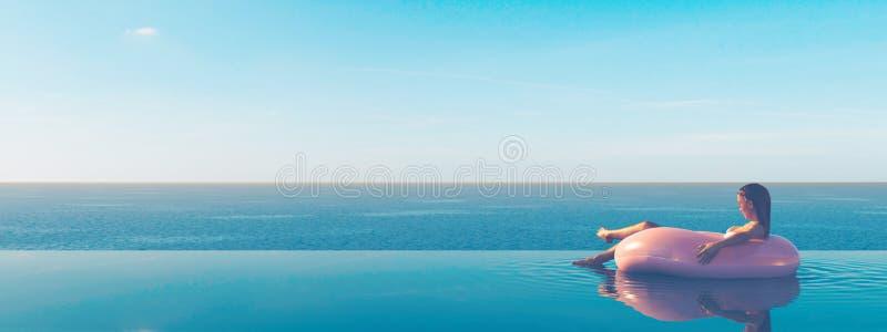 τρισδιάστατος-απεικόνιση της γυναίκας που κολυμπά στο επιπλέον σώμα σε μια λίμνη απεικόνιση αποθεμάτων
