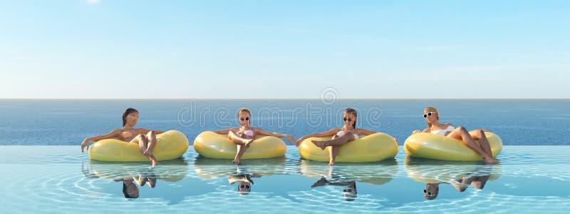τρισδιάστατος-απεικόνιση των γυναικών που κολυμπούν στο επιπλέον σώμα σε μια λίμνη διανυσματική απεικόνιση