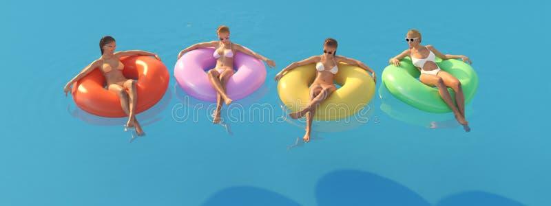 τρισδιάστατος-απεικόνιση των γυναικών που κολυμπούν στο επιπλέον σώμα σε μια λίμνη απεικόνιση αποθεμάτων
