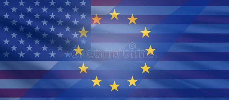 Τρισδιάστατος-απεικόνιση των Ηνωμένων Πολιτειών της Αμερικής και της Ευρώπης ελεύθερη απεικόνιση δικαιώματος