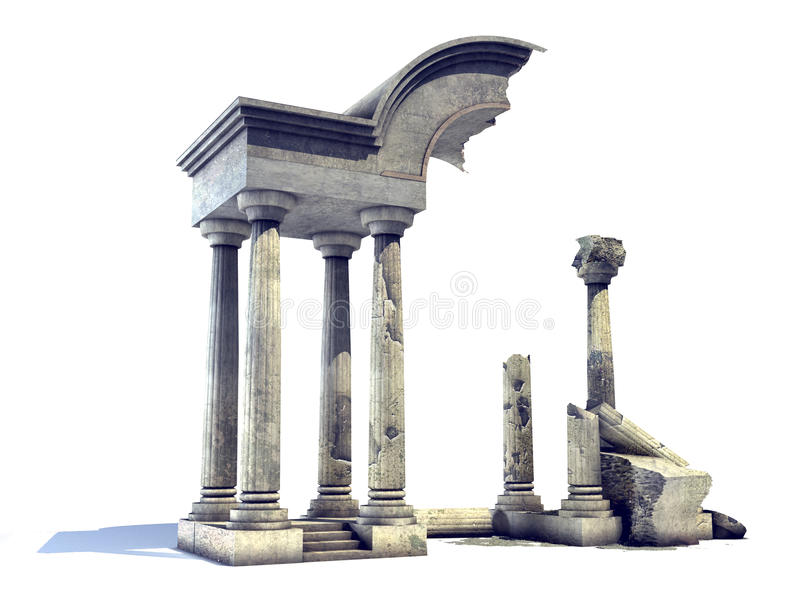 τρισδιάστατος αρχαίος ναός καταστροφών απεικόνιση αποθεμάτων
