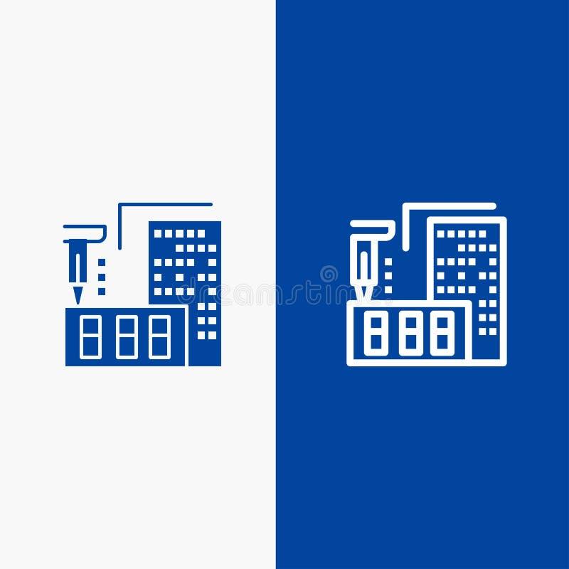 τρισδιάστατος, αρχιτεκτονική, κατασκευή, επεξεργασία, εγχώρια γραμμή και στερεά γραμμή εμβλημάτων εικονιδίων Glyph μπλε και στερε διανυσματική απεικόνιση