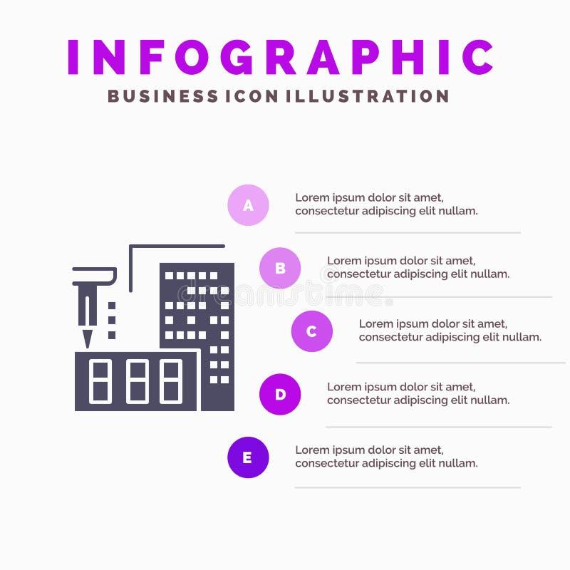 τρισδιάστατος, αρχιτεκτονική, κατασκευή, επεξεργασία, εγχώριο στερεό εικονίδιο Infographics 5 υπόβαθρο παρουσίασης βημάτων ελεύθερη απεικόνιση δικαιώματος