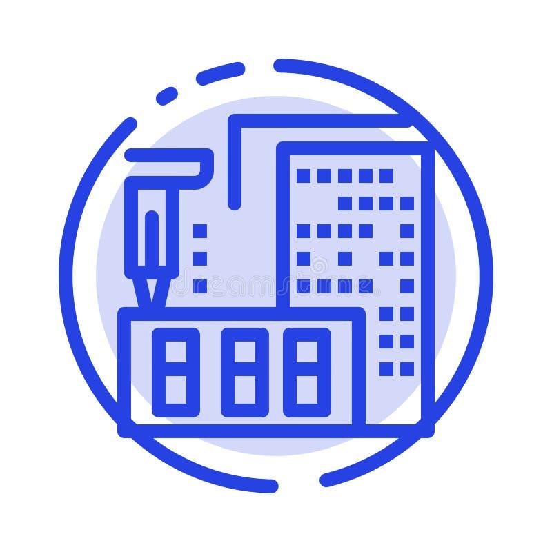 τρισδιάστατος, αρχιτεκτονική, κατασκευή, επεξεργασία, εικονίδιο γραμμών εγχώριων μπλε διαστιγμένων γραμμών ελεύθερη απεικόνιση δικαιώματος
