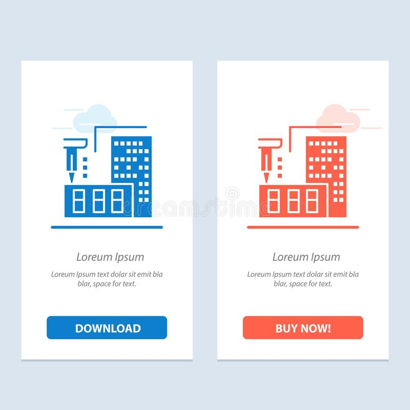 τρισδιάστατος, αρχιτεκτονική, κατασκευή, επεξεργασία, σπίτι μπλε και κόκκινο μεταφορτώστε και αγοράστε τώρα το πρότυπο καρτών Wid ελεύθερη απεικόνιση δικαιώματος