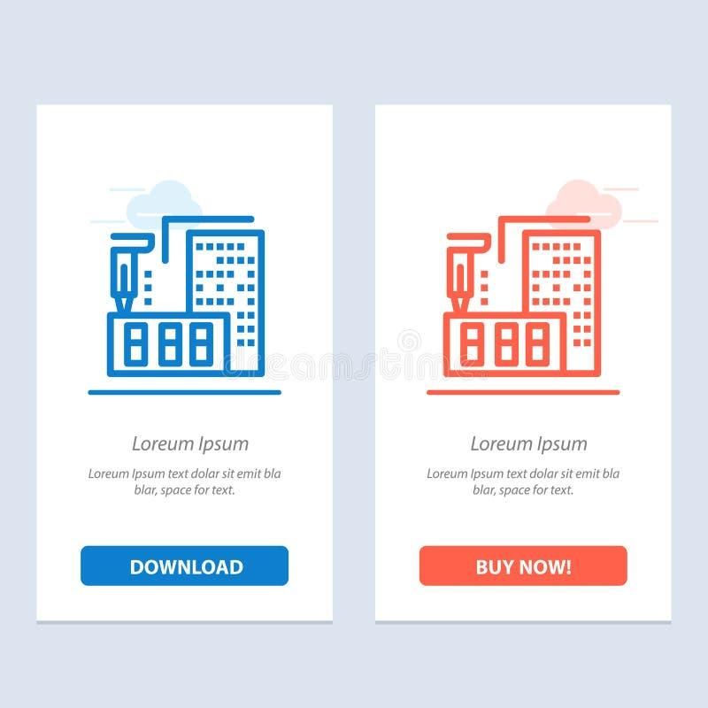 τρισδιάστατος, αρχιτεκτονική, κατασκευή, επεξεργασία, σπίτι μπλε και κόκκινο μεταφορτώστε και αγοράστε τώρα το πρότυπο καρτών Wid διανυσματική απεικόνιση