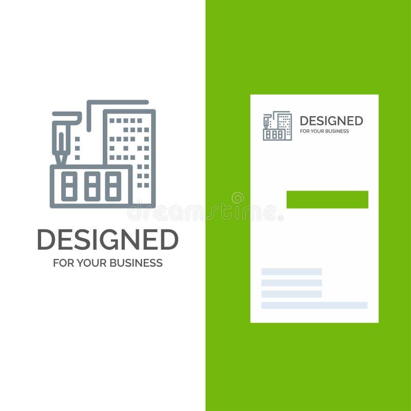 τρισδιάστατος, αρχιτεκτονική, κατασκευή, επεξεργασία, σχέδιο εγχώριων γκρίζο λογότυπων και πρότυπο επαγγελματικών καρτών διανυσματική απεικόνιση
