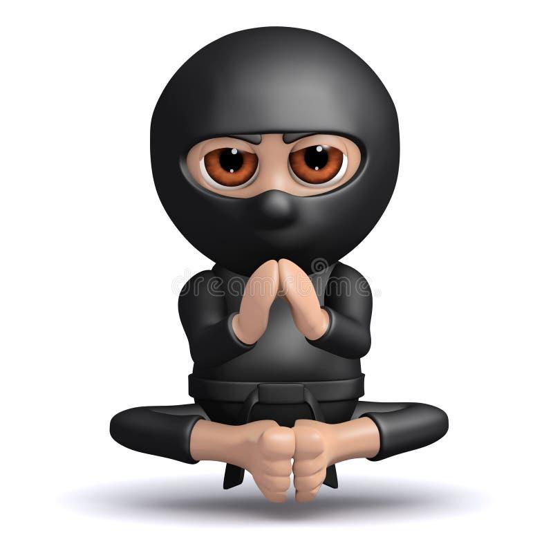 τρισδιάστατος αστείος δολοφόνος πολεμιστών Ninja κινούμενων σχεδίων meditates και levitates απεικόνιση αποθεμάτων