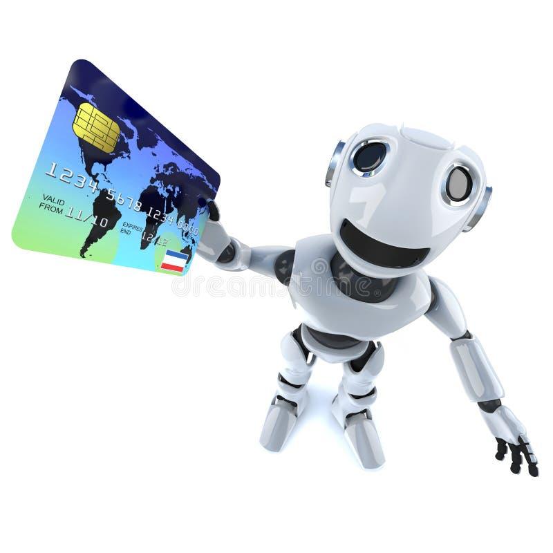 τρισδιάστατος αστείος χαρακτήρας ρομπότ κινούμενων σχεδίων μηχανικός που πληρώνει με μια χρεωστική κάρτα διανυσματική απεικόνιση