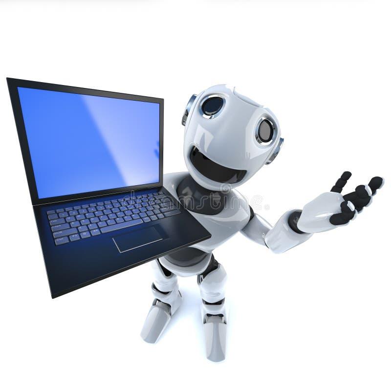 τρισδιάστατος αστείος χαρακτήρας ρομπότ κινούμενων σχεδίων που κρατά μια συσκευή ταμπλετών υπολογιστών PC lap-top ελεύθερη απεικόνιση δικαιώματος