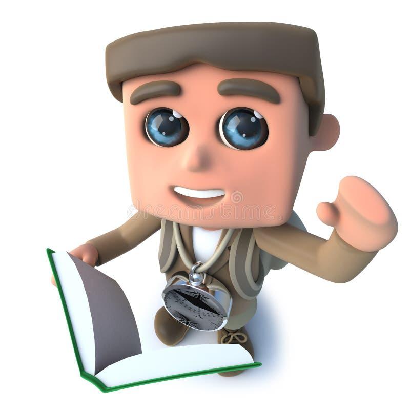 τρισδιάστατος αστείος χαρακτήρας τυχοδιωκτών οδοιπόρων κινούμενων σχεδίων που διαβάζει ένα βιβλίο διανυσματική απεικόνιση