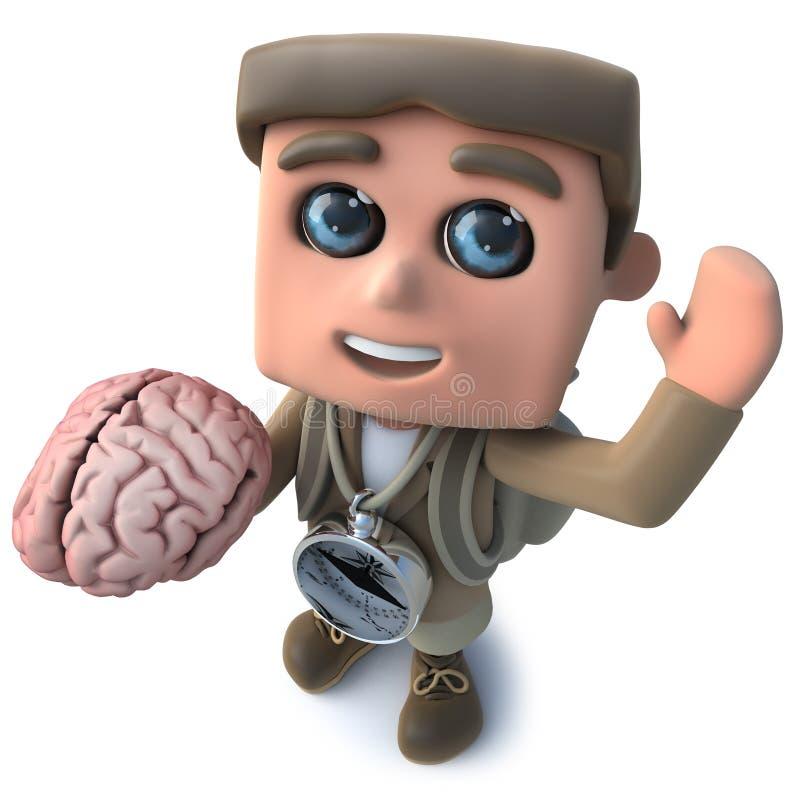 τρισδιάστατος αστείος χαρακτήρας τυχοδιωκτών οδοιπόρων κινούμενων σχεδίων που κρατά έναν ανθρώπινο εγκέφαλο ελεύθερη απεικόνιση δικαιώματος