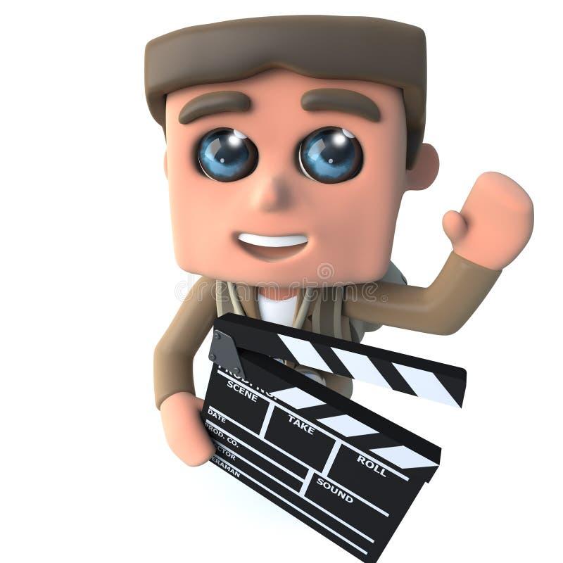 τρισδιάστατος αστείος χαρακτήρας τυχοδιωκτών οδοιπόρων κινούμενων σχεδίων που κρατά μια πλάκα ταινιών κατασκευαστών κινηματογράφω ελεύθερη απεικόνιση δικαιώματος