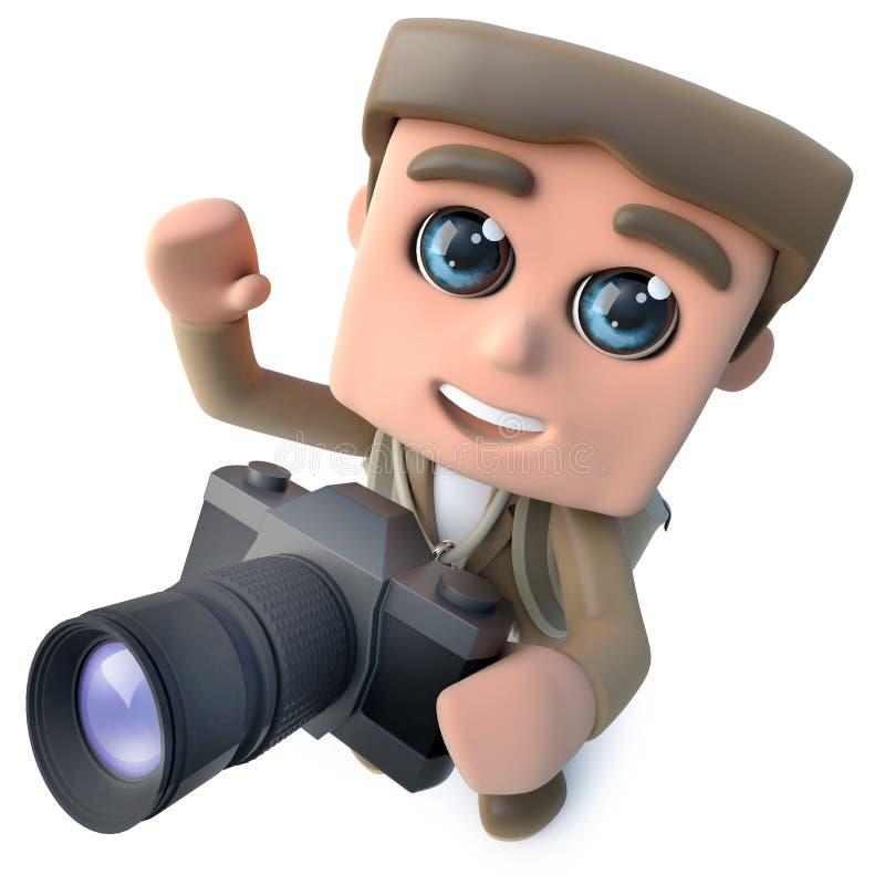 τρισδιάστατος αστείος χαρακτήρας τυχοδιωκτών οδοιπόρων κινούμενων σχεδίων που παίρνει μια φωτογραφία με μια κάμερα ελεύθερη απεικόνιση δικαιώματος