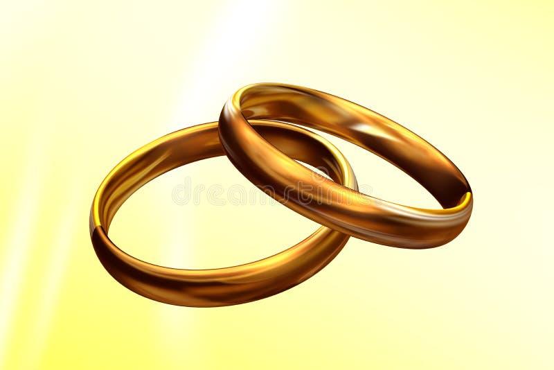 τρισδιάστατος γάμος δαχτυλιδιών διανυσματική απεικόνιση