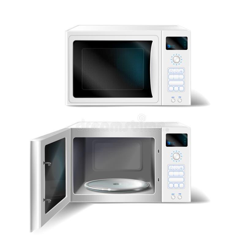 τρισδιάστατος διανυσματικός φούρνος μικροκυμάτων με το πιάτο γυαλιού μέσα απεικόνιση αποθεμάτων