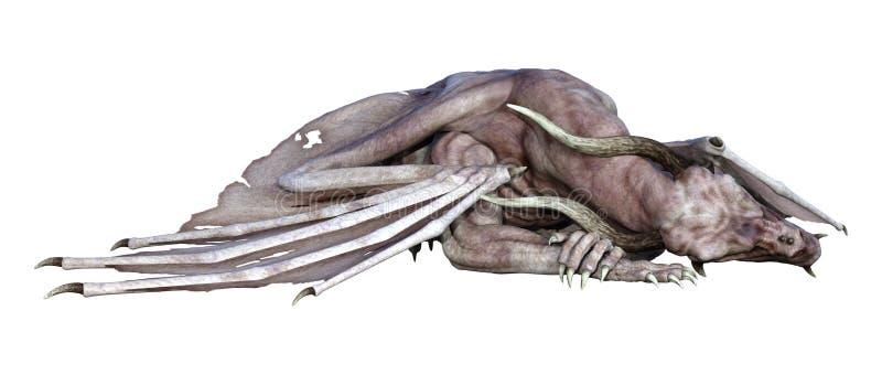 τρισδιάστατος δράκος βαμπίρ φαντασίας απόδοσης στο λευκό διανυσματική απεικόνιση