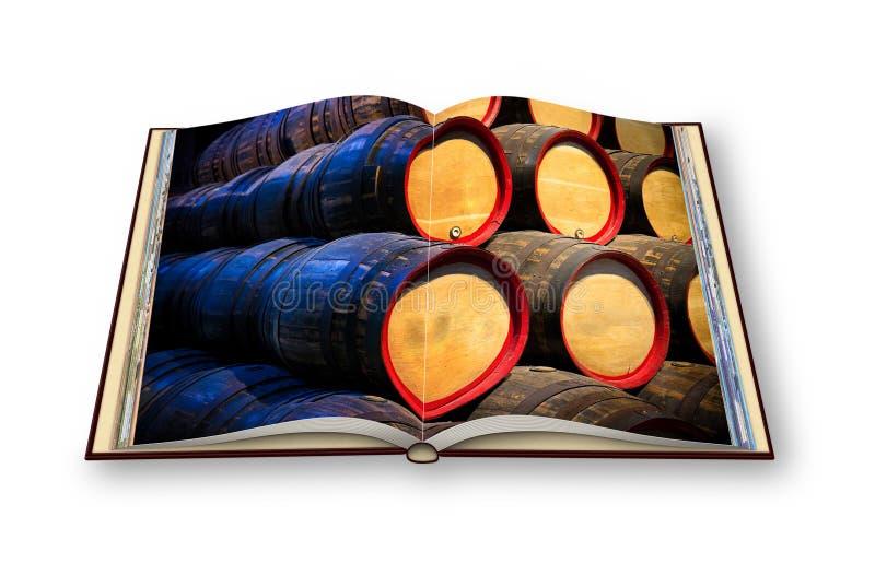 τρισδιάστατος δώστε ενός ανοιγμένου βιβλίου φωτογραφιών με τον ξύλινο σωρό βαρελιών μπύρας στοκ εικόνα
