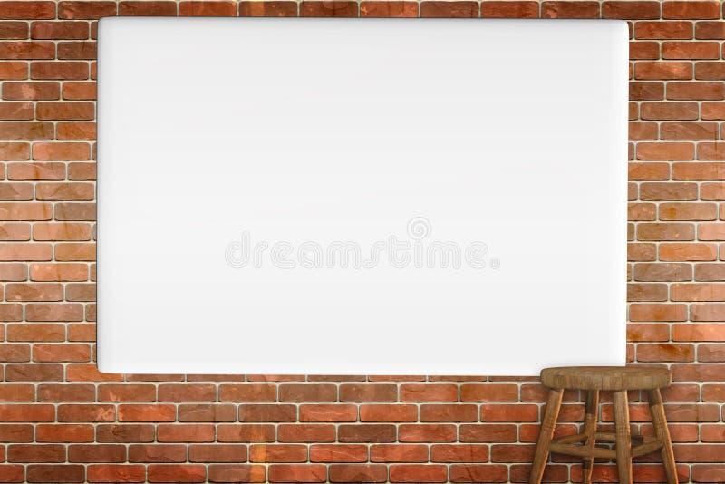 τρισδιάστατος δώστε ενός κενού καμβά σε έναν τοίχο πετρών grunge ελεύθερη απεικόνιση δικαιώματος