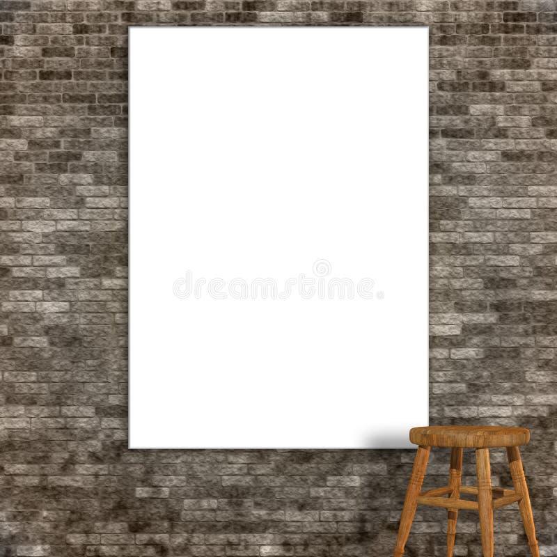 τρισδιάστατος δώστε ενός κενού καμβά σε έναν τοίχο πετρών grunge διανυσματική απεικόνιση