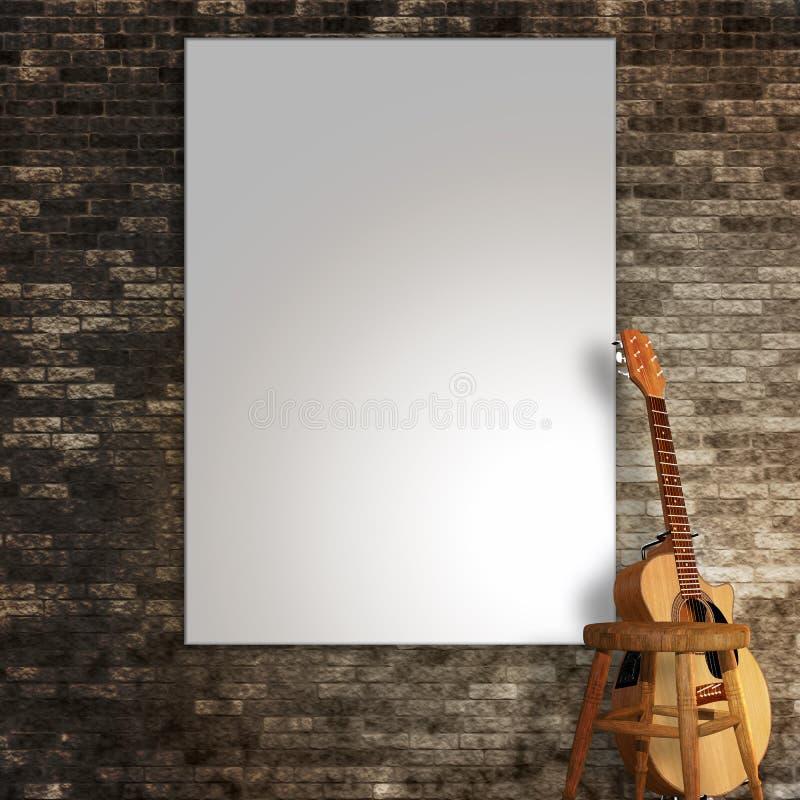 τρισδιάστατος δώστε ενός κενού καμβά στον τοίχο με μια κιθάρα και ένα σκαμνί ελεύθερη απεικόνιση δικαιώματος