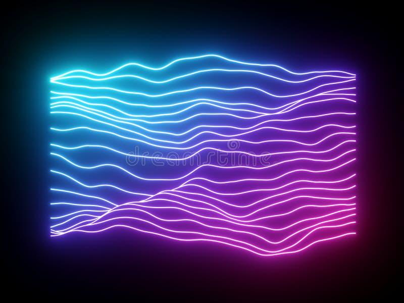 τρισδιάστατος δώστε, οδοντώστε τις μπλε κυματιστές γραμμές νέου, ηλεκτρονικός εικονικός εξισωτής μουσικής, απεικόνιση υγιών κυμάτ στοκ εικόνα