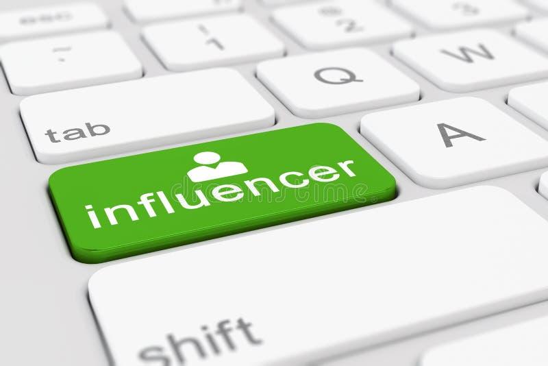 τρισδιάστατος δώστε - πληκτρολογήστε με το πράσινο κουμπί - influencer ελεύθερη απεικόνιση δικαιώματος