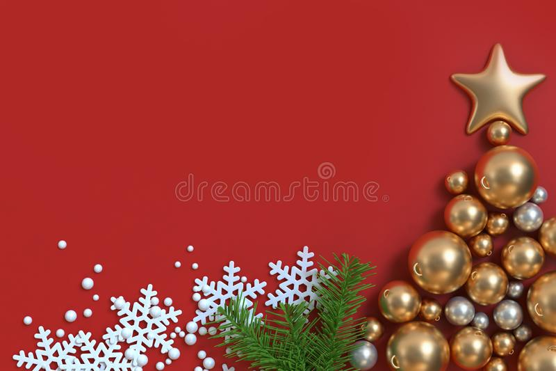 τρισδιάστατος δώστε πολύ χρυσό αστέρι σφαιρών Χριστουγέννων το κόκκινο υπόβαθρο Χριστουγέννων πατωμάτων στοκ φωτογραφίες