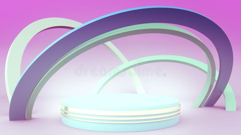 τρισδιάστατος δώστε, πρωτόγονες μορφές, αφαιρεί το γεωμετρικό υπόβαθρο, εξέδρα κυλίνδρων, σύγχρονη minimalistic χλεύη επάνω, κενό απεικόνιση αποθεμάτων
