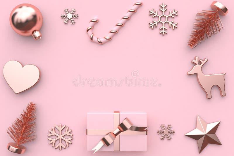 τρισδιάστατος δώστε την αφηρημένη ρόδινη μεταλλική στιλπνός-ροδαλή χρυσή διακόσμηση δέντρων χιονιού κιβωτίων δώρων κορδελλών στοκ φωτογραφία με δικαίωμα ελεύθερης χρήσης