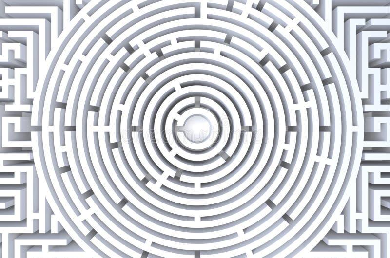 τρισδιάστατος δώστε του κυκλικού λαβυρίνθου το αφηρημένο άσπρο υπόβαθρο ελεύθερη απεικόνιση δικαιώματος