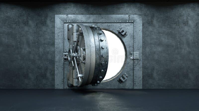 τρισδιάστατος δώστε το άνοιγμα της πόρτας υπόγειων θαλάμων στην τράπεζα διανυσματική απεικόνιση