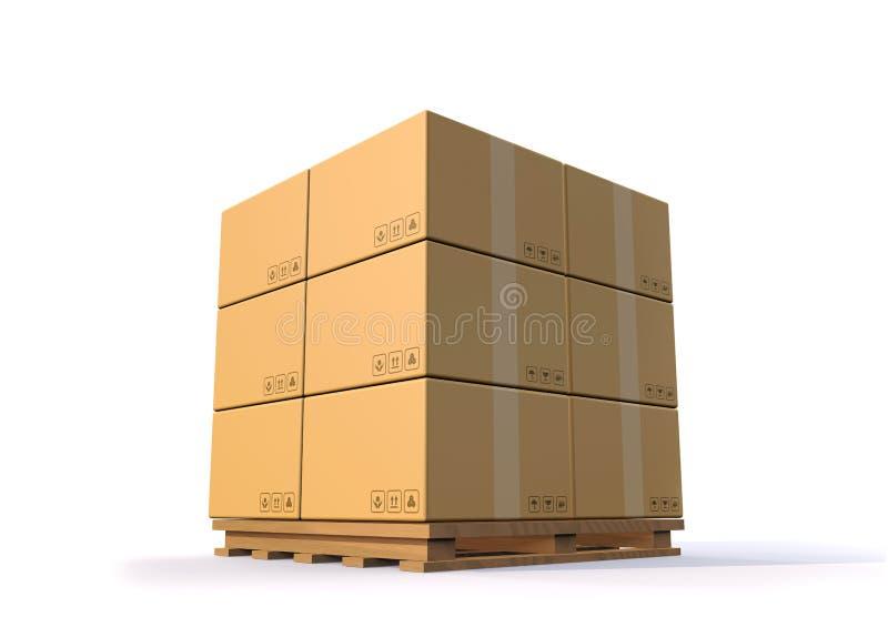 τρισδιάστατος δώστε το σωρό φορτίου κιβωτίων καρτών καφετιού εγγράφου στην ξύλινη παλέτα στο άσπρο κλίμα απεικόνιση αποθεμάτων