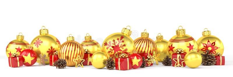 τρισδιάστατος δώστε - χρυσά και κόκκινα μπιχλιμπίδια Χριστουγέννων πέρα από το άσπρο backgrou ελεύθερη απεικόνιση δικαιώματος