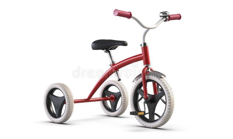 τρισδιάστατος επεξηγήστε του τρίκυκλου ρόδινου ποδηλάτου των παιδιών που απομονώνεται στο άσπρο υπόβαθρο απεικόνιση αποθεμάτων