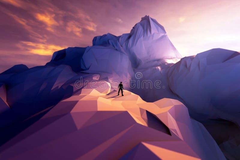 τρισδιάστατος επιχειρηματίας απεικόνισης που στέκεται στην άκρη απότομων βράχων και που φαίνεται α απεικόνιση αποθεμάτων