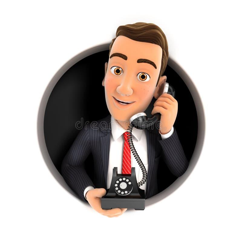 τρισδιάστατος επιχειρηματίας που κάνει το τηλεφώνημα μέσα στην κυκλική τρύπα διανυσματική απεικόνιση