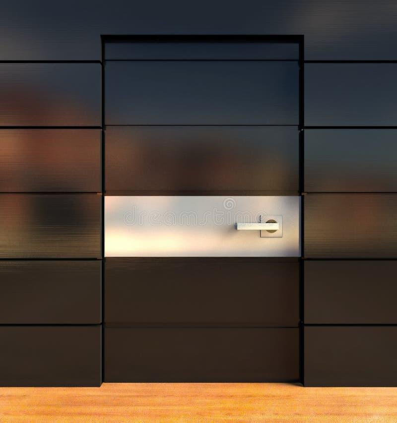 τρισδιάστατος εσωτερικός σύγχρονος τοίχος πορτών ελεύθερη απεικόνιση δικαιώματος