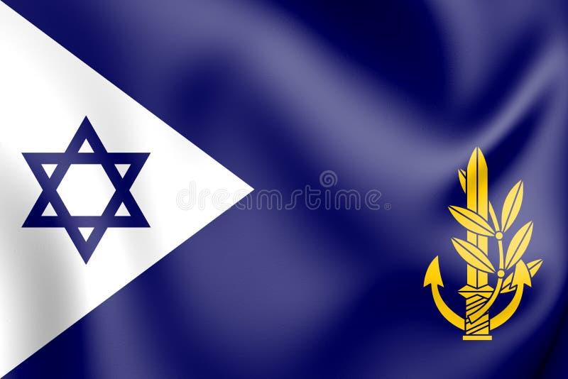 τρισδιάστατος ισραηλινός διοικητής ναυτικού - μέσα - κύρια εν πλω σημαία απεικόνιση αποθεμάτων