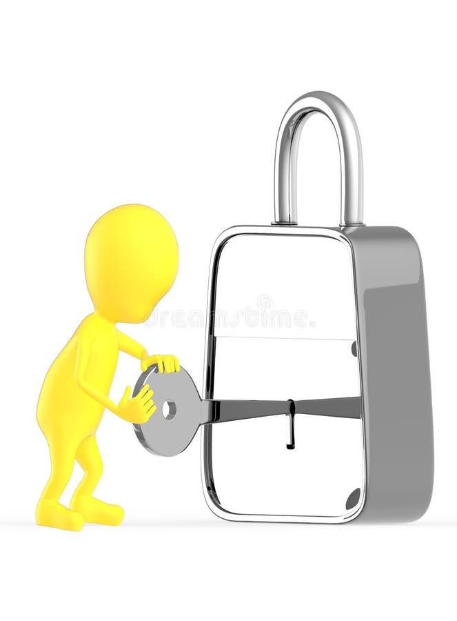 τρισδιάστατος κίτρινος χαρακτήρας που ένα κλειδί μέσα σε μια κλειδαριά, ξεκλείδωμα, κλείσιμο διανυσματική απεικόνιση