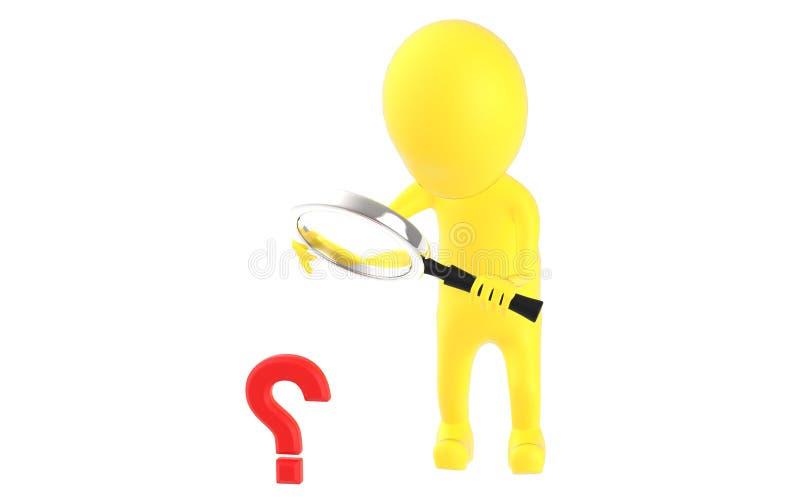 τρισδιάστατος κίτρινος χαρακτήρας που κρατά έναν πιό magnifier στα χέρια και που φαίνεται ερωτηματικό μέσω του ελεύθερη απεικόνιση δικαιώματος