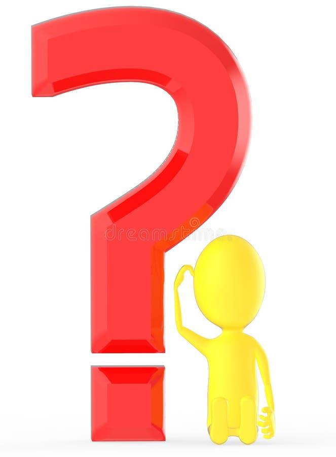 τρισδιάστατος κίτρινος χαρακτήρας που το κεφάλι του εγκαθιστώντας πλησίον σε ένα μεγάλο ερωτηματικό, συγκεχυμένο, αβέβαιος & σκεπ ελεύθερη απεικόνιση δικαιώματος