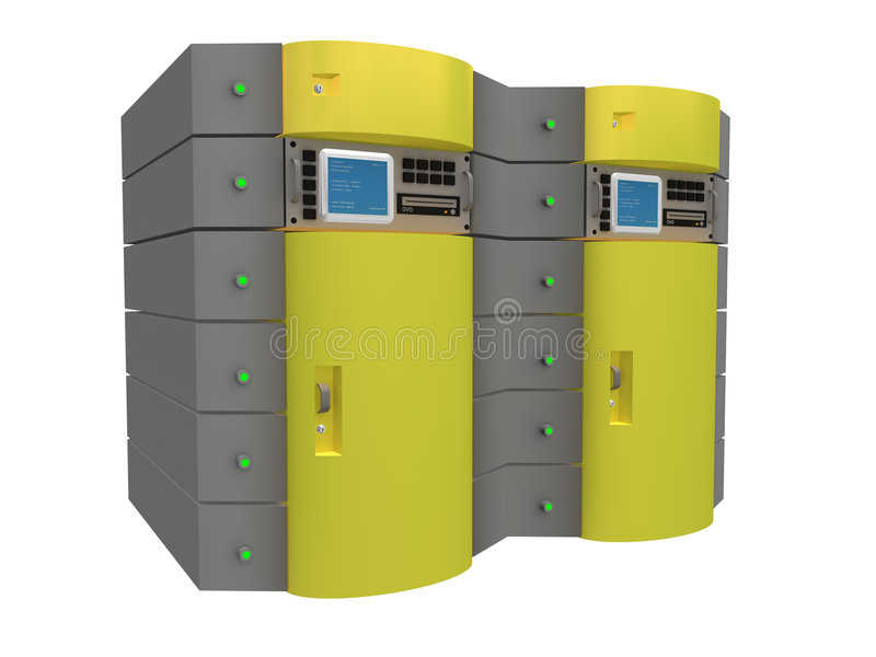 τρισδιάστατος κεντρικός υπολογιστής κίτρινος απεικόνιση αποθεμάτων