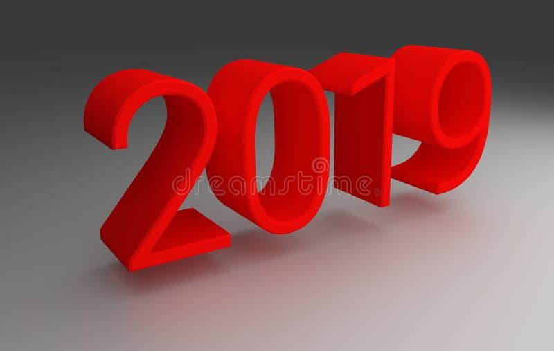 τρισδιάστατος Κόκκινα ψηφία του έτους 2019 στο γκρίζο υπόβαθρο Τρισδιάστατη απόδοση απεικόνιση αποθεμάτων