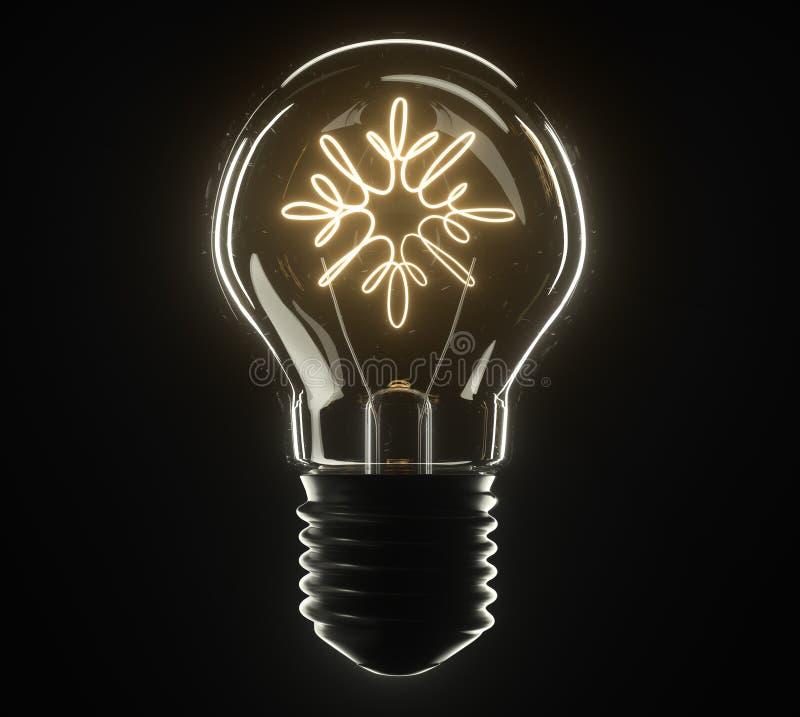 τρισδιάστατος λαμπτήρας απεικόνισης Snowflake στοκ εικόνα με δικαίωμα ελεύθερης χρήσης